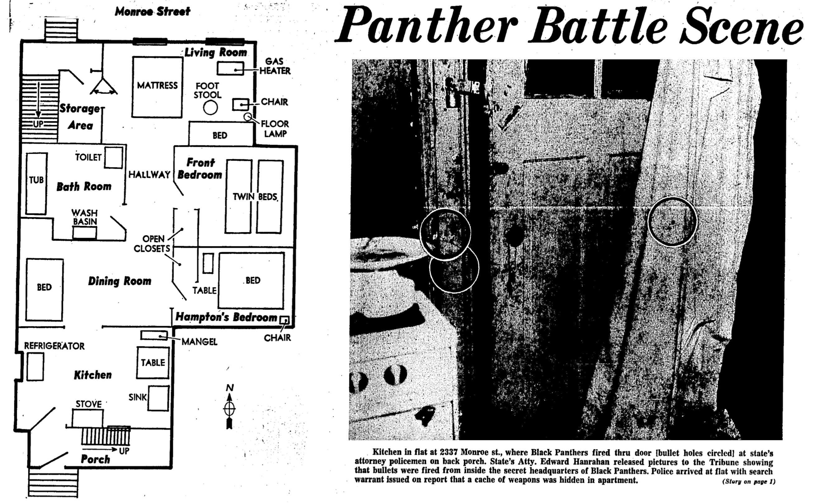 "An ""exclusive"" police account of the shooting that killed Fred Hampton, published in the Chicago Tribune. The image above points to holes that supposedly showed that the Panthers shot first. They were later proven to be nail holes (Chicago Tribune, Dec. 11 1969)."