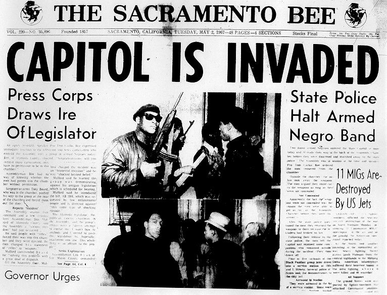 The Sacramento Bee's front page story the day after the Panthers protest of the Mulford Act.