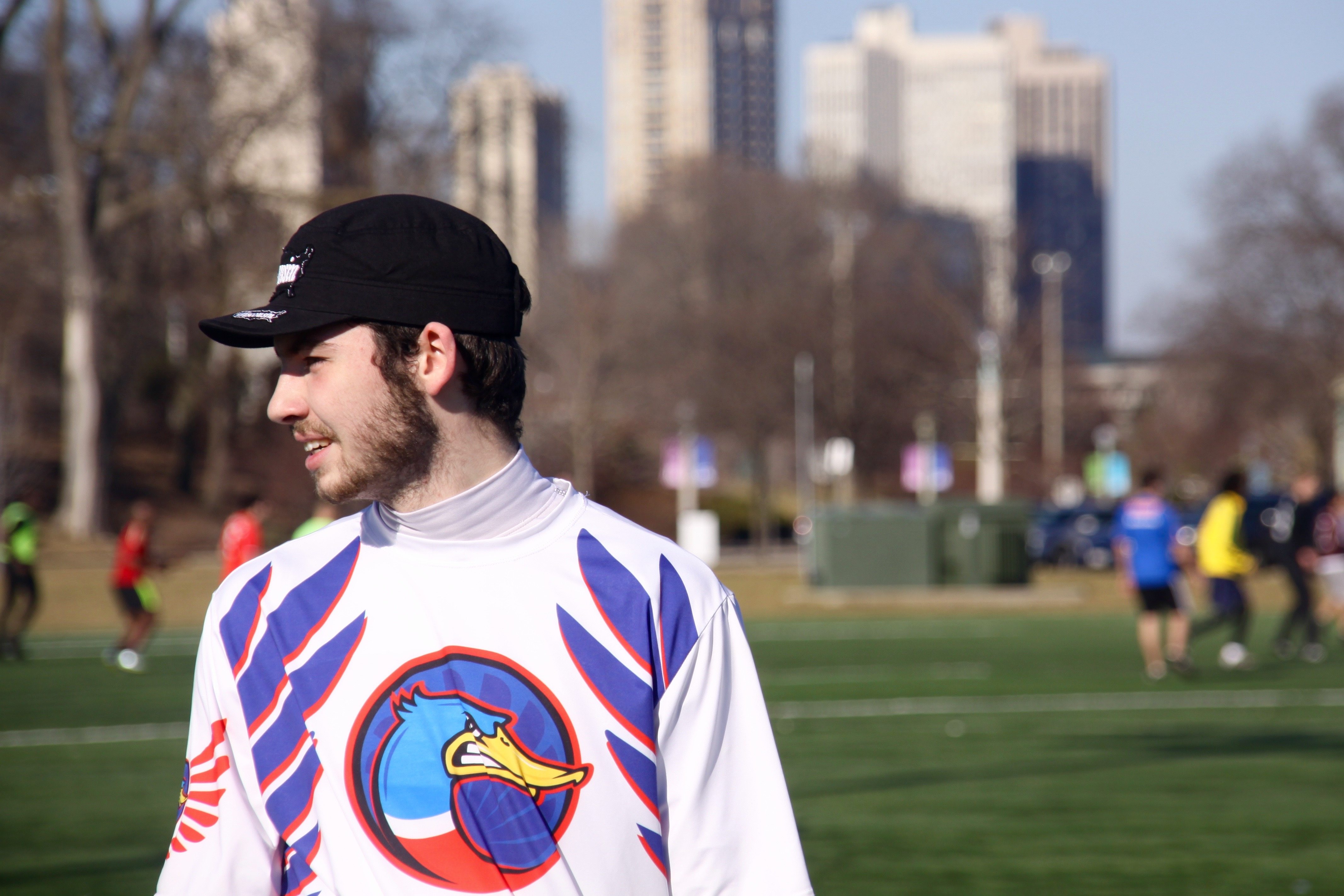 Josh Ludke waits for a drill to start at the DePaul Ultimate Club practice on Jan. 21, 2017. (Photo/Ben Rains)