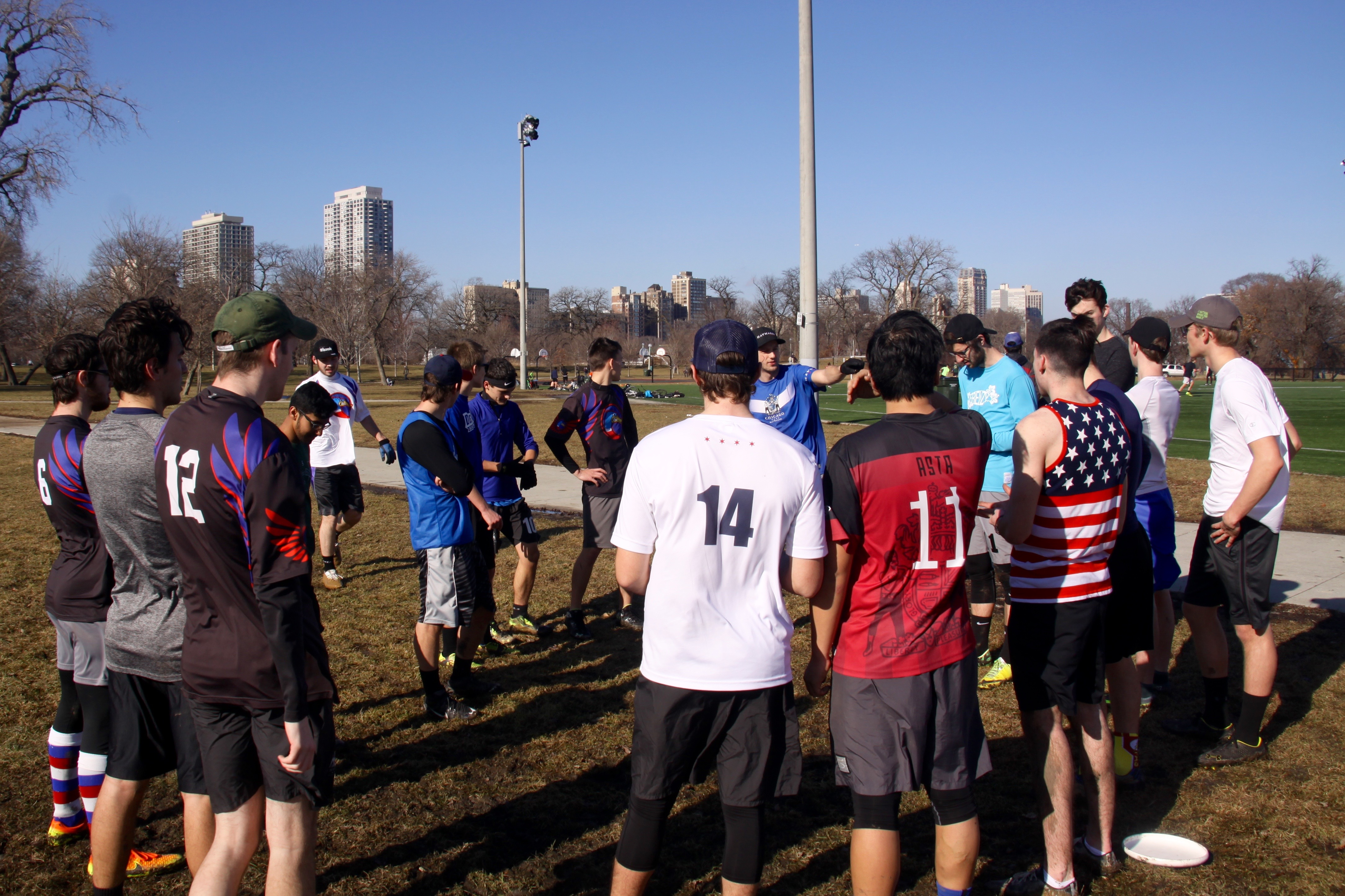 "The DePaul Ultimate Club ""Ducks"" huddle together during a long and intense Saturday morning practice on Jan. 21, 2017. (Photo/Ben Rains)"