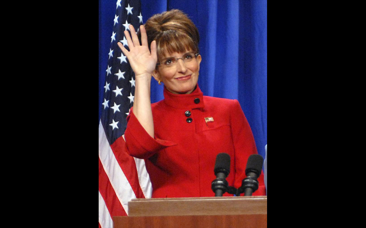 Tina Fey depicts Sarah Palin on Saturday Night Live in 2008 (Dana Edelson/Associated Press)
