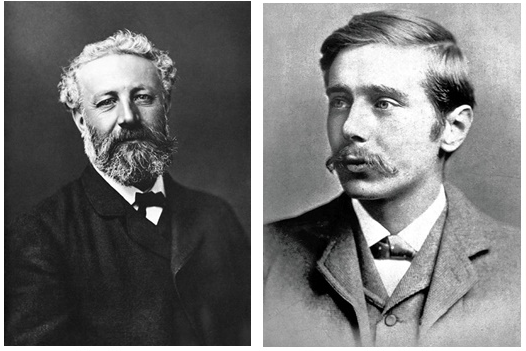 Jules Verne (right) and H.G. Wells (left). Image compilation courtesy of the Society of Satellite Professionals International.