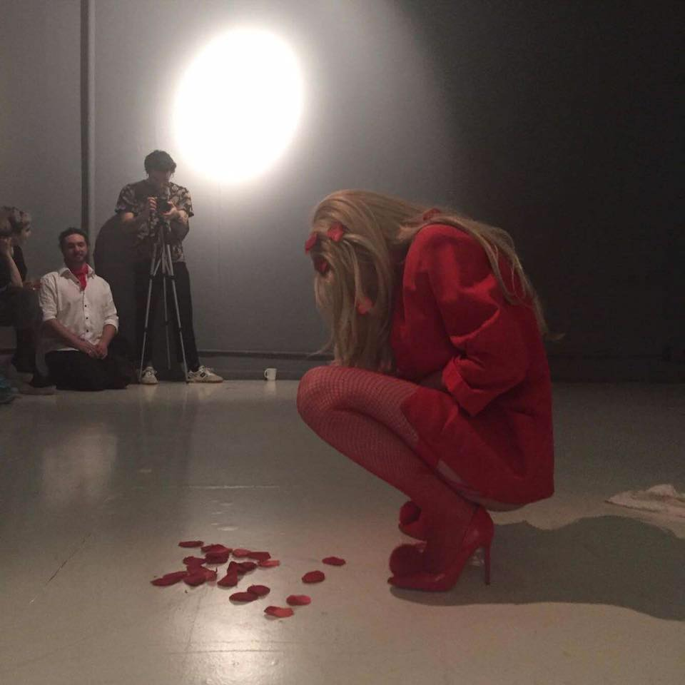 "Still from Hespelt's ""Girl Talk"" Performance for SAIC"