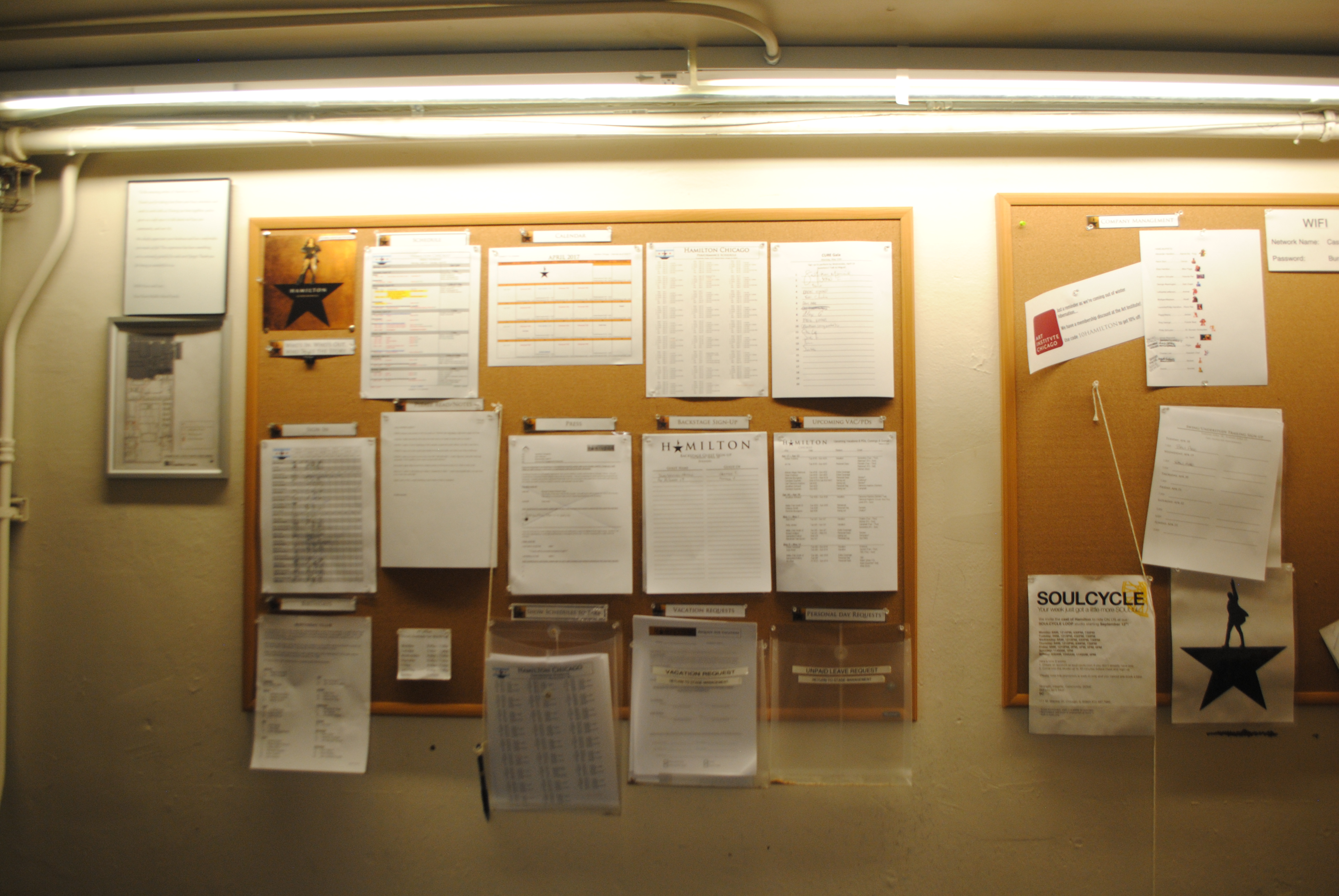 """Hamilton's"" call board at PrivateBank Theatre, Credit (Al Amendola, 14 East Magazine)"