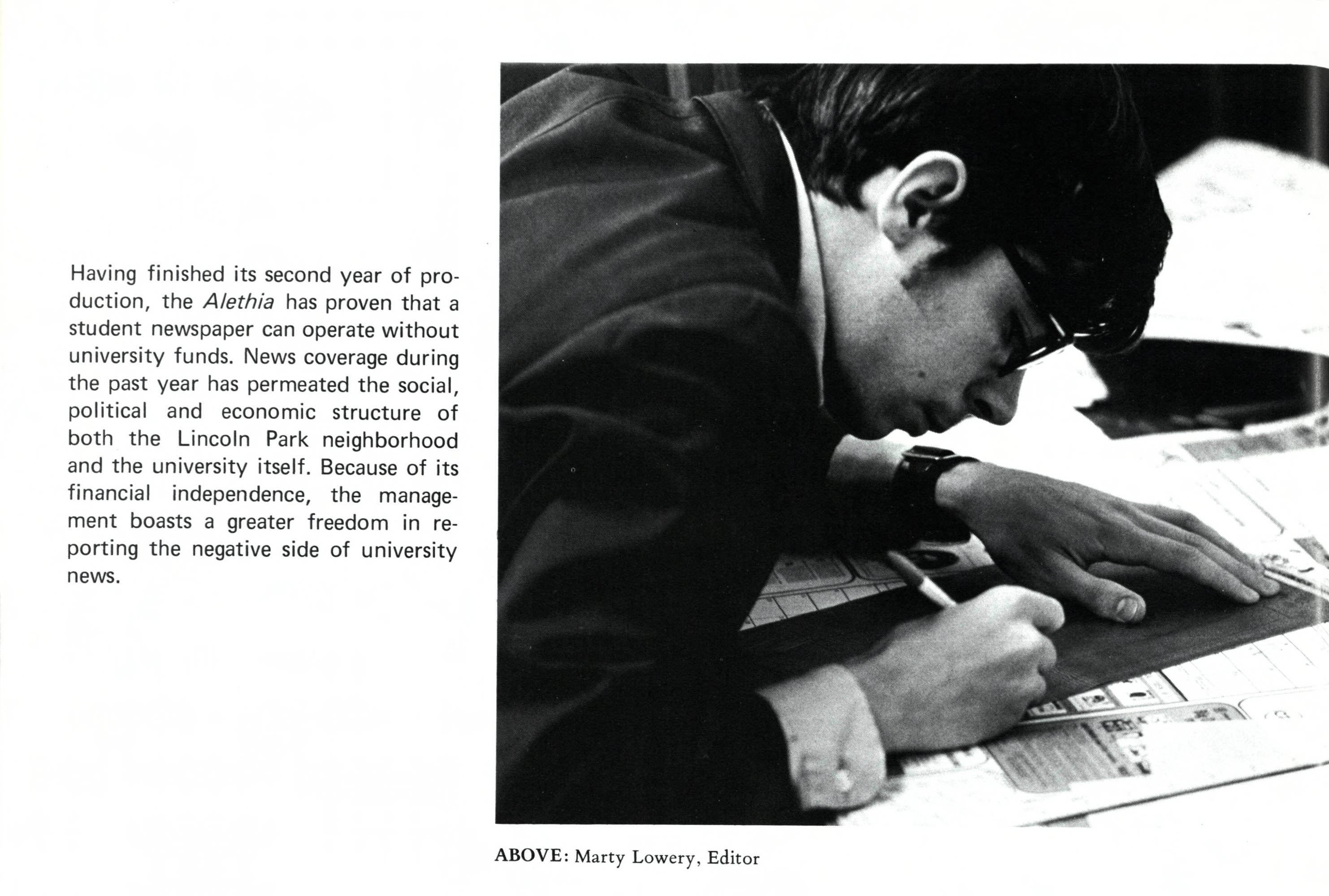 Martin Lowery works on an upcoming issue of The Aletheia (courtesy of the DePaul Richardson Library Digital Collections)