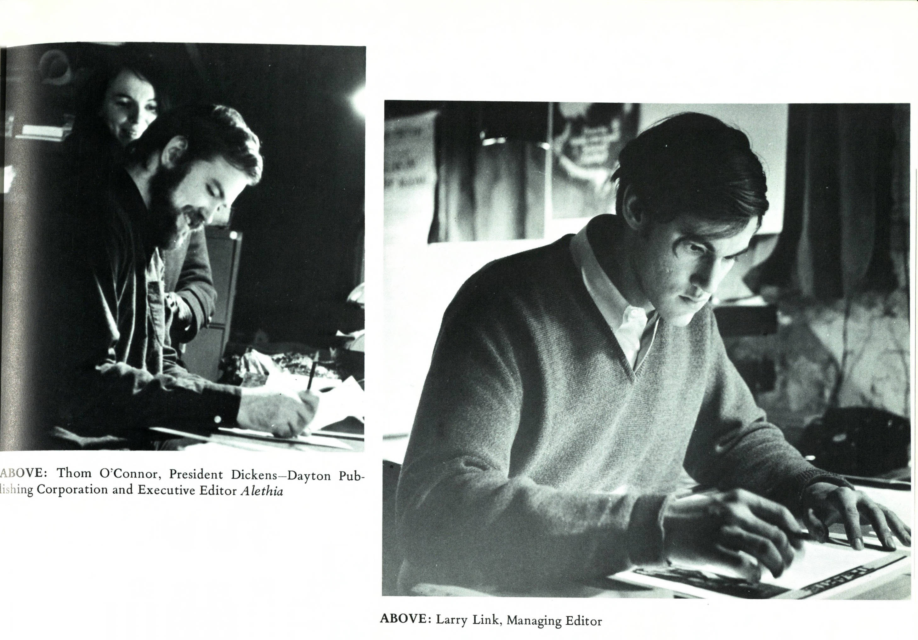 Thom O'Connor and Joseph Link work on an upcoming issue of the Aletheia (courtesy of the DePaul Richardson Library Digital Collections)