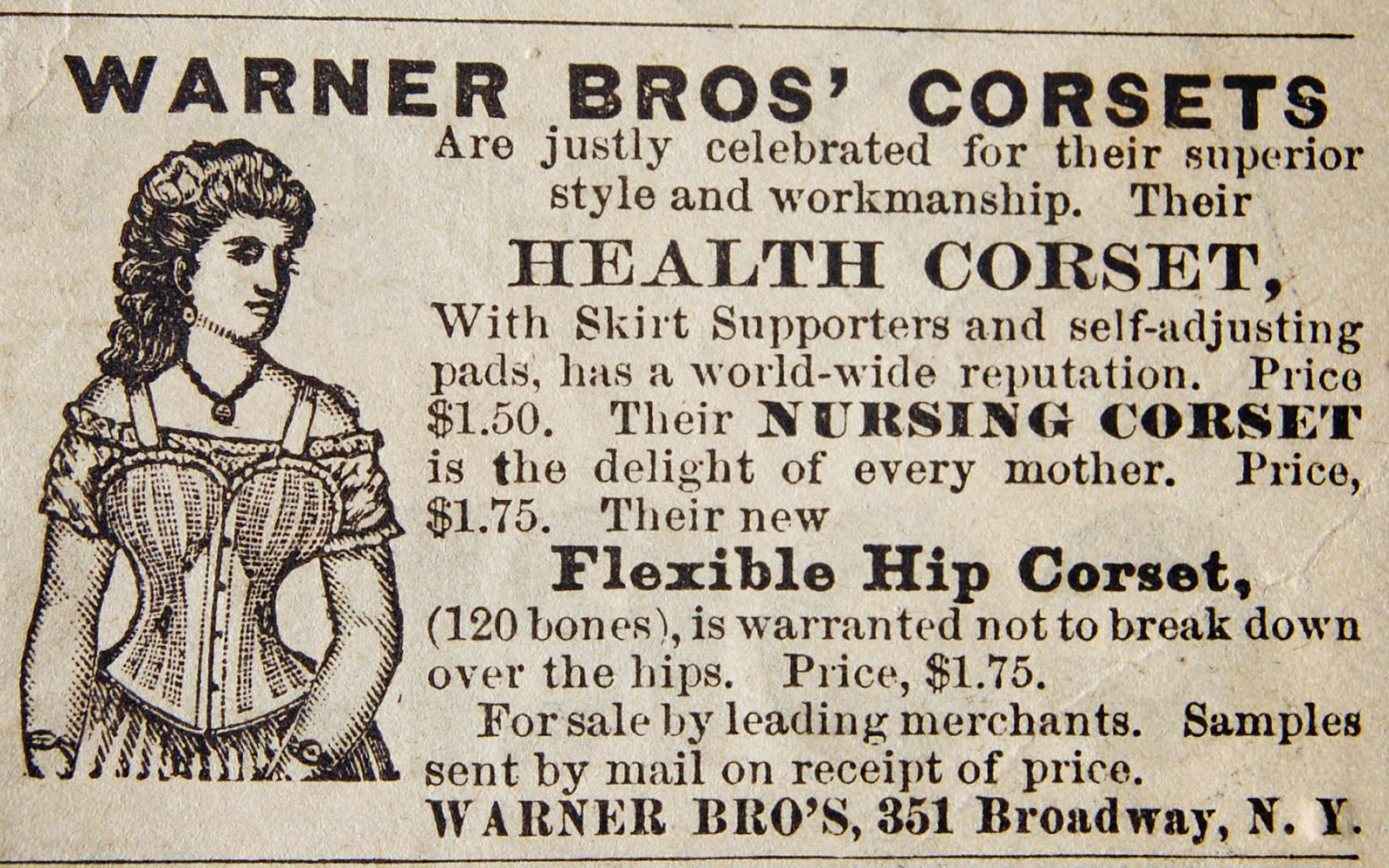 A Warner Brothers Corsets advertisement from 1878 detailing the health benefits of the company's products: Originally published in a 1878 issue of the Staunton Spectator of Staunton, Virginia.