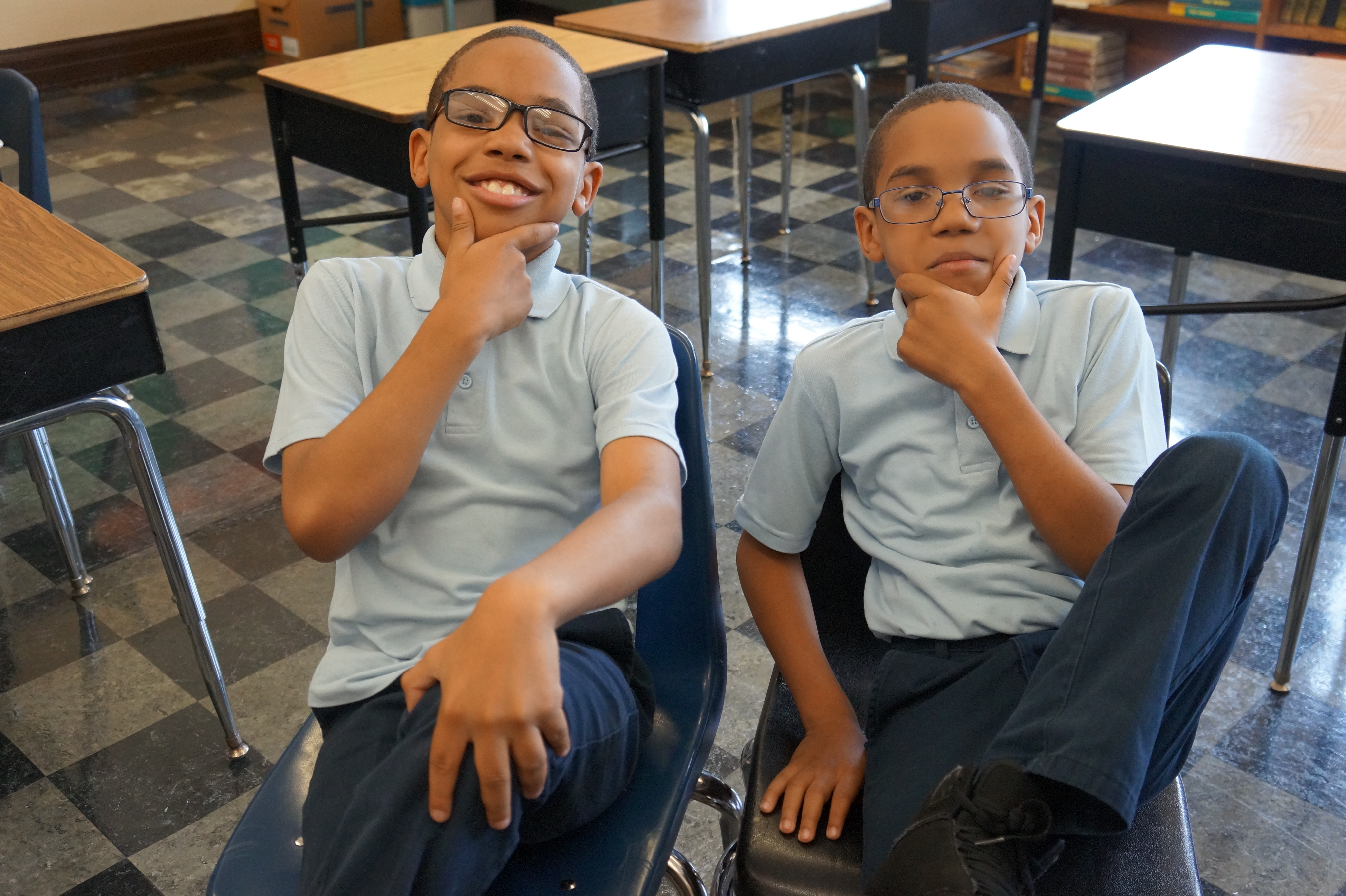 Brian (left) and Shaun take a break from math equations to pose for a picture. (Kira Latoszewski, 14 East)