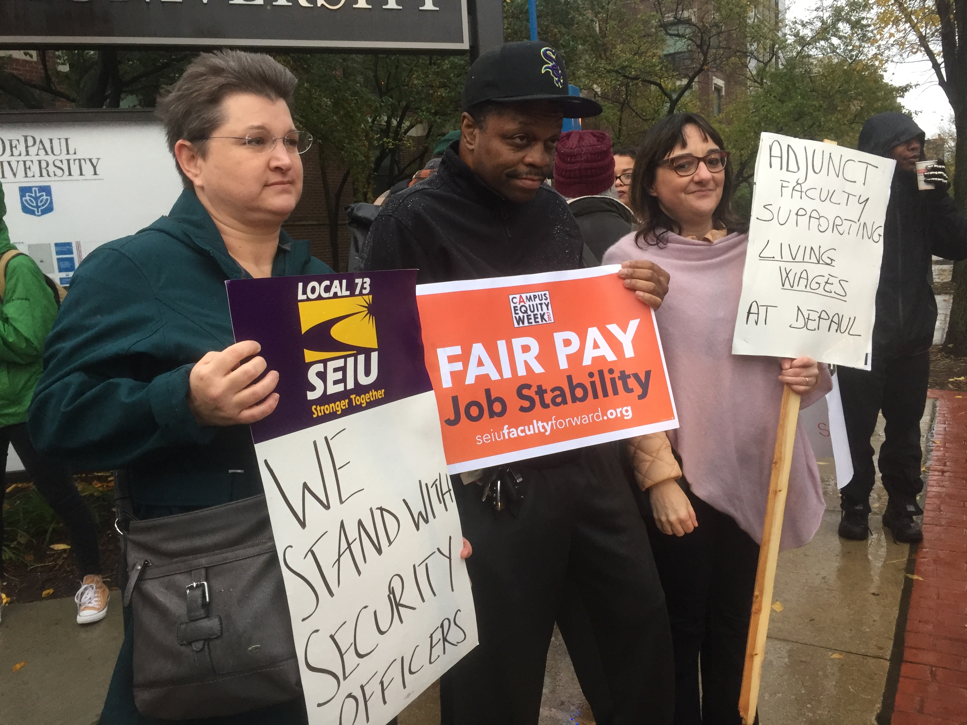 Modern language adjunct professors at DePaul attend the Oct. 24 protest to support the overnight desk receptionists. Photo: Marissa Nelson, 14 East.