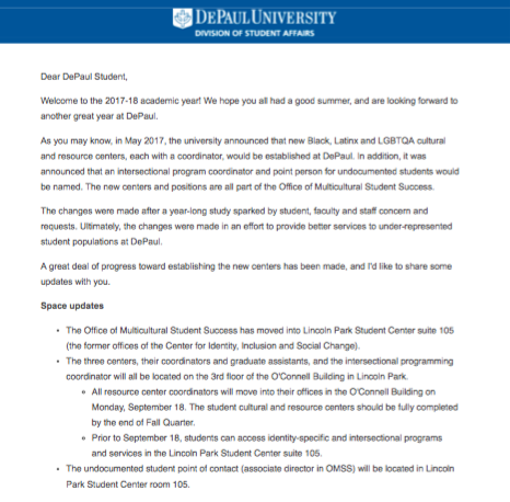 A copy of the university-wide email sent on Sept. 13 from the new center.
