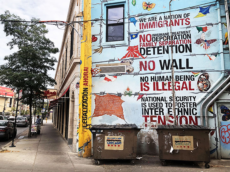 Murals explore immigrant identity in the Chicago's Pilsen neighborhood. (Oriette D'Angelo, 14 East).