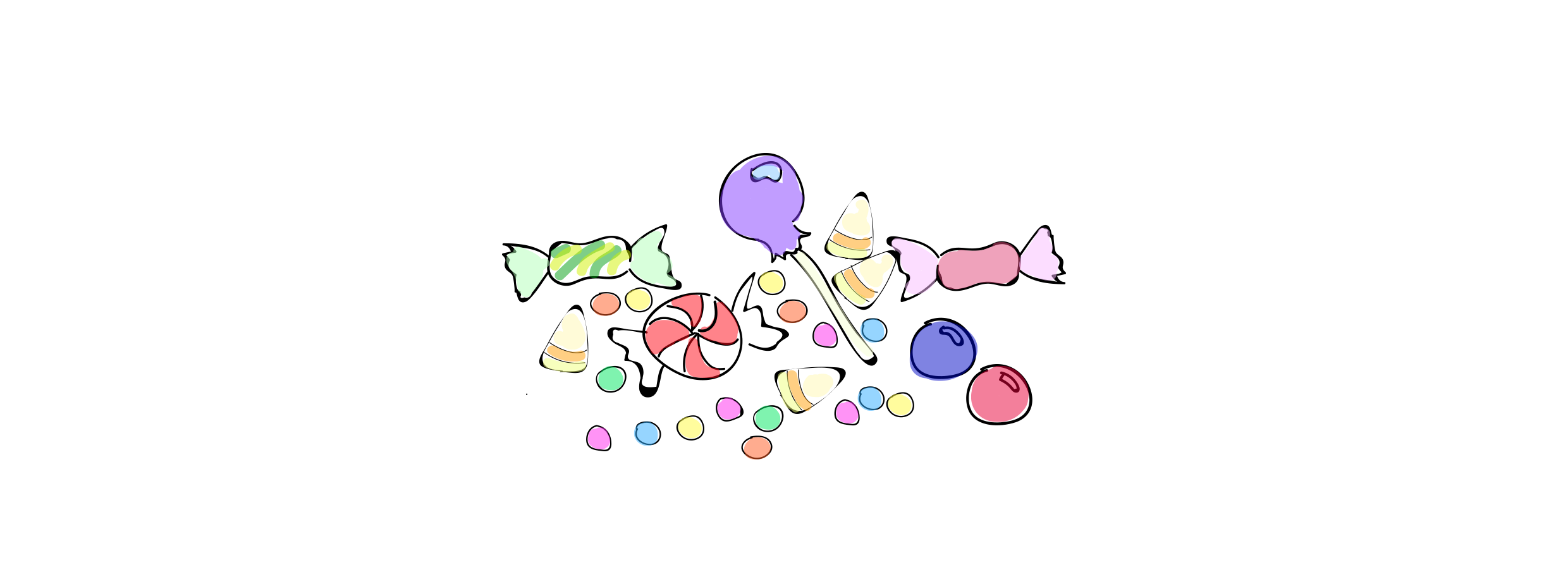 Jelly bean, lollipop and taffy illustration