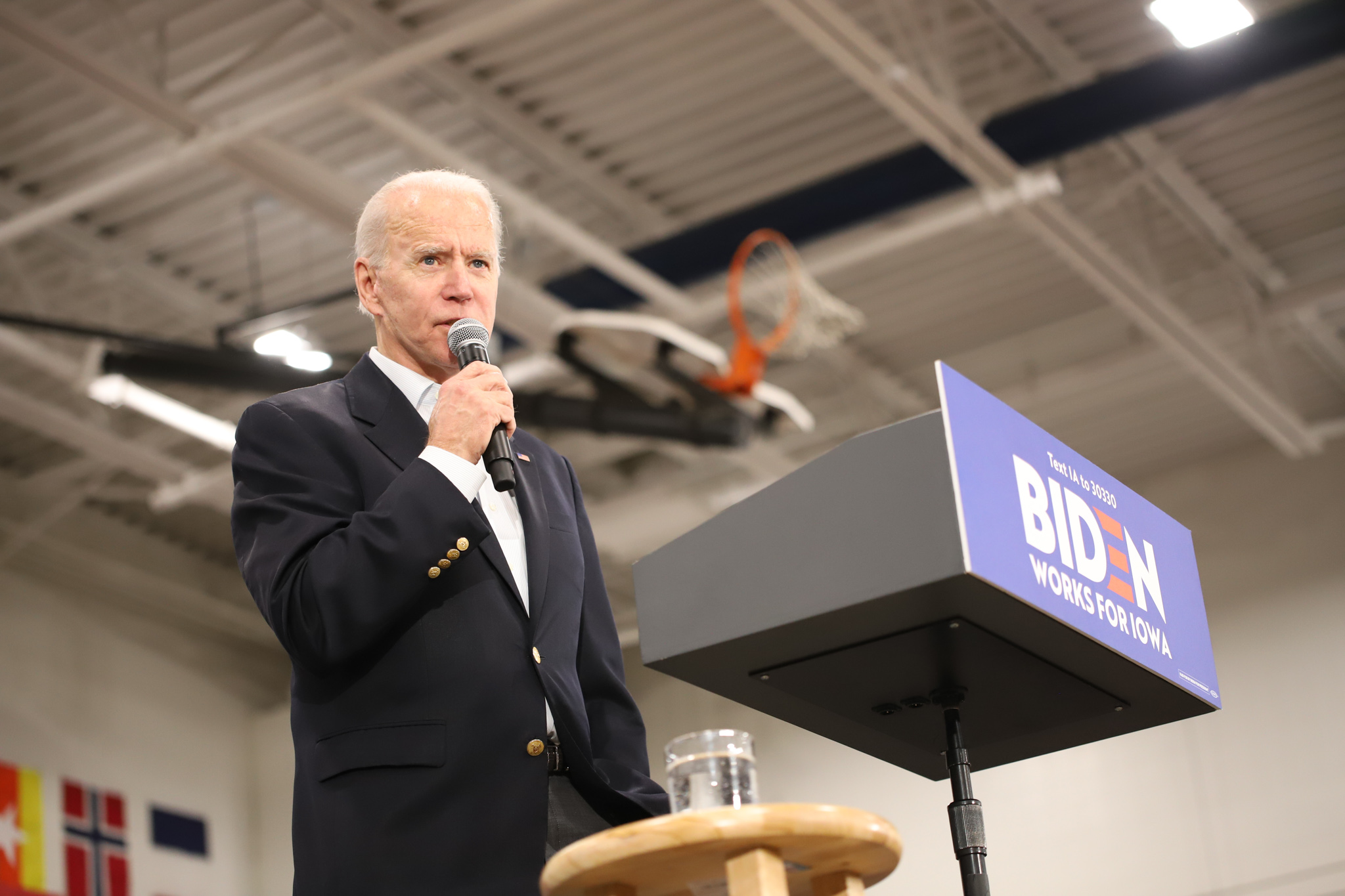 Biden speaking to Iowans. (Brita Hunegs, 14 East)