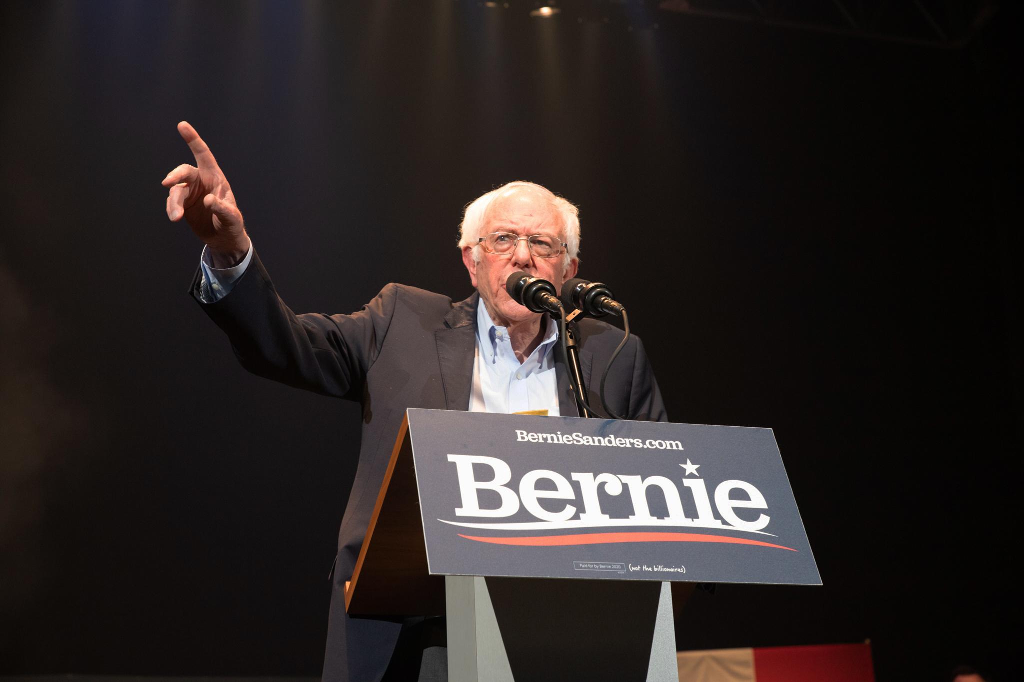 Sanders speaking to crowd. (Marissa Nelson, 14 East)
