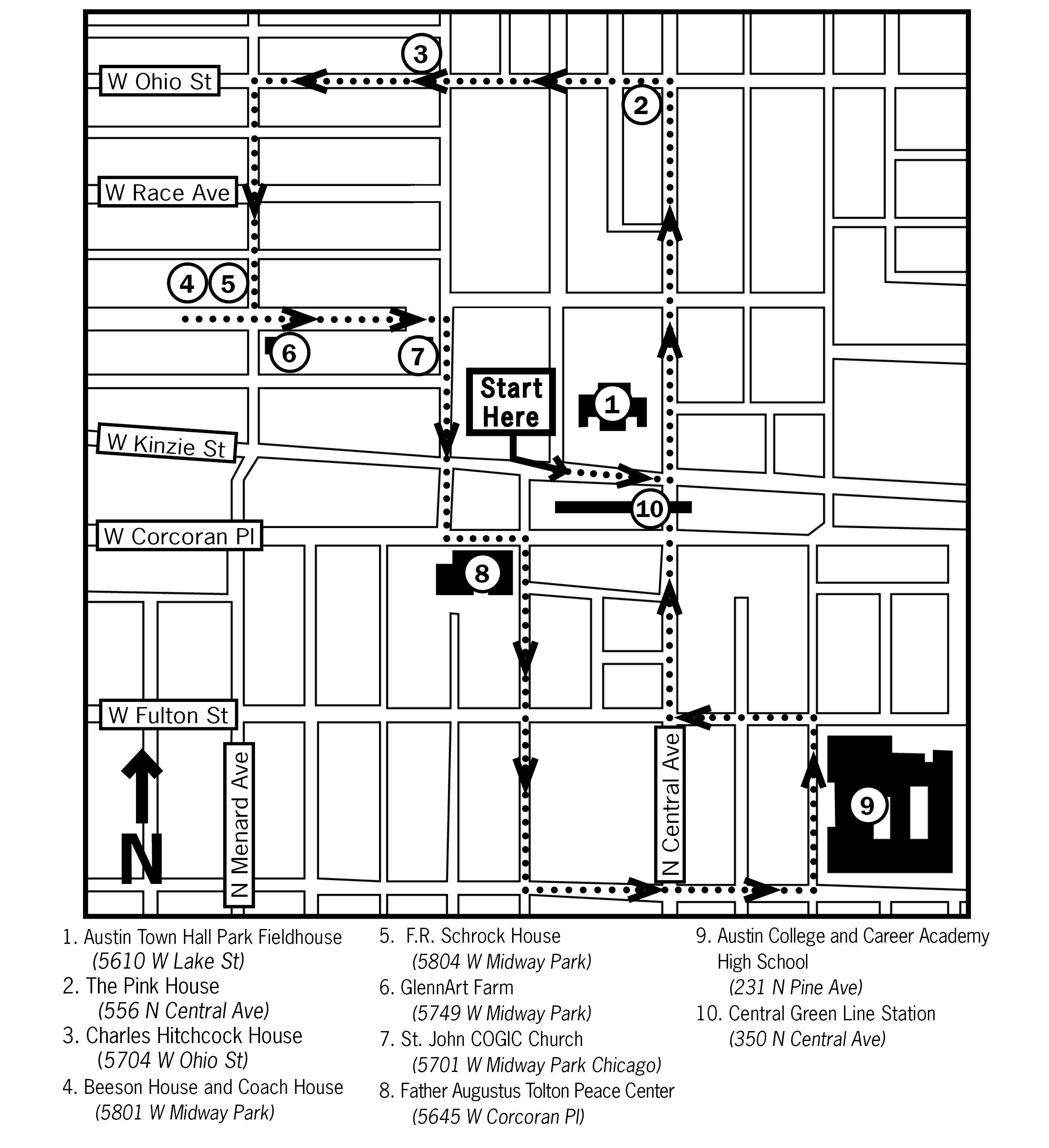 A map of Austin with different stops on the audio walking tour highlighted. The map is in black and white.